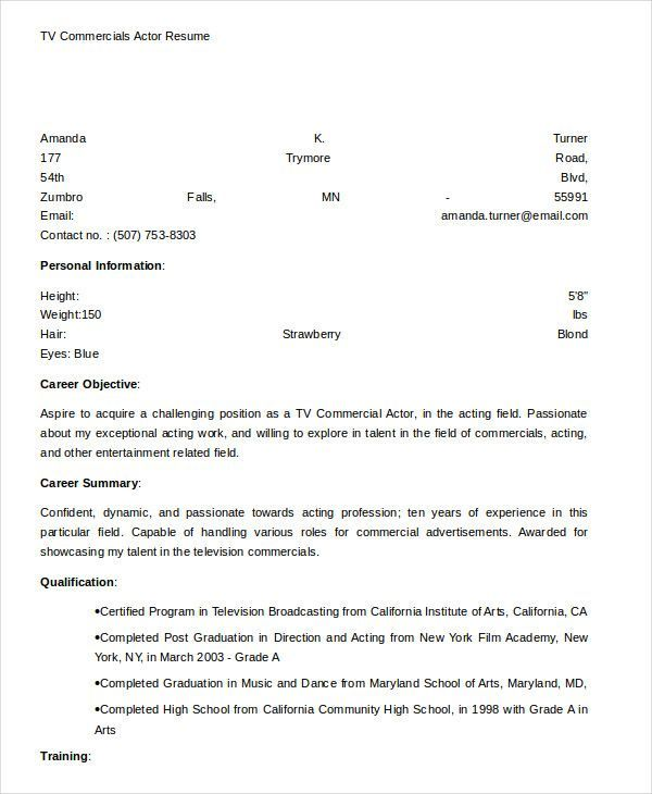 Tv Commercials Actor Resume Template Free Actor Resume Template