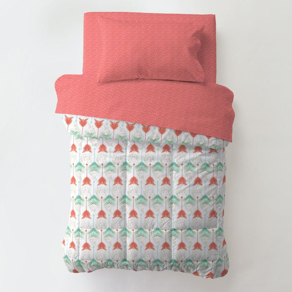 Coral And Teal Arrow Toddler Bedding
