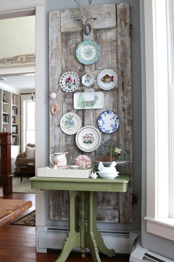 wohnideen zum selber machen wanddeko alte tür platten Decorating - wanddekoration selber machen