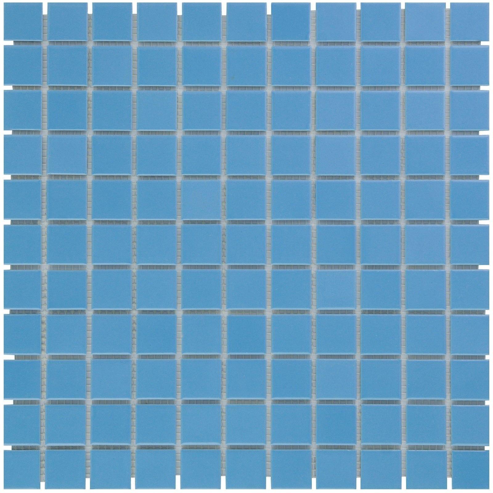 Glazed Porcelain Mosaic Tile Sheet Barcelona 1 X1 Square Glossy Blue Case Of 10 Sheets 9 7 Sq Ft 12 X 12 Ceramic Mosaic Tile Sheets Mosaic Tiles Tile Installation
