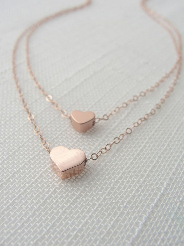 Rose Gold Double Strand Heart Necklace what to wear Pinterest