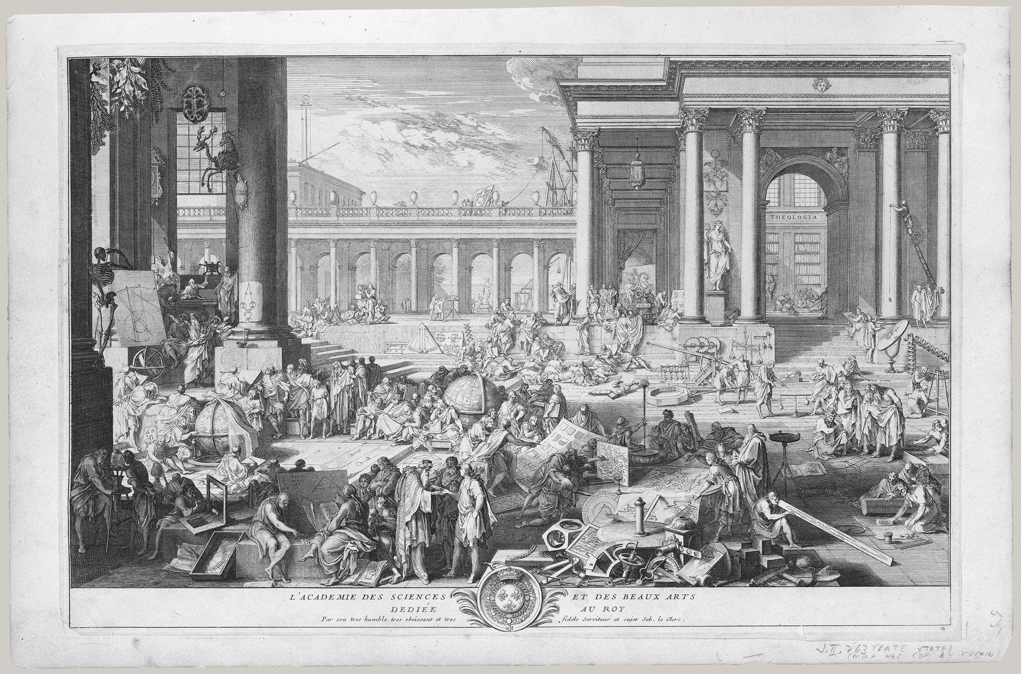 L'Académie des Sciences et des Beaux-Arts  Artist:Sébastien Leclerc I (French, Metz 1637–1714 Paris)  Date:1698  Medium:Etching; seventh state of eight