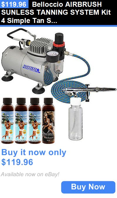 Other Sun Protection and Tanning: Belloccio Airbrush Sunless Tanning System Kit 4 Simple Tan Solutions Compressor BUY IT NOW ONLY: $119.96