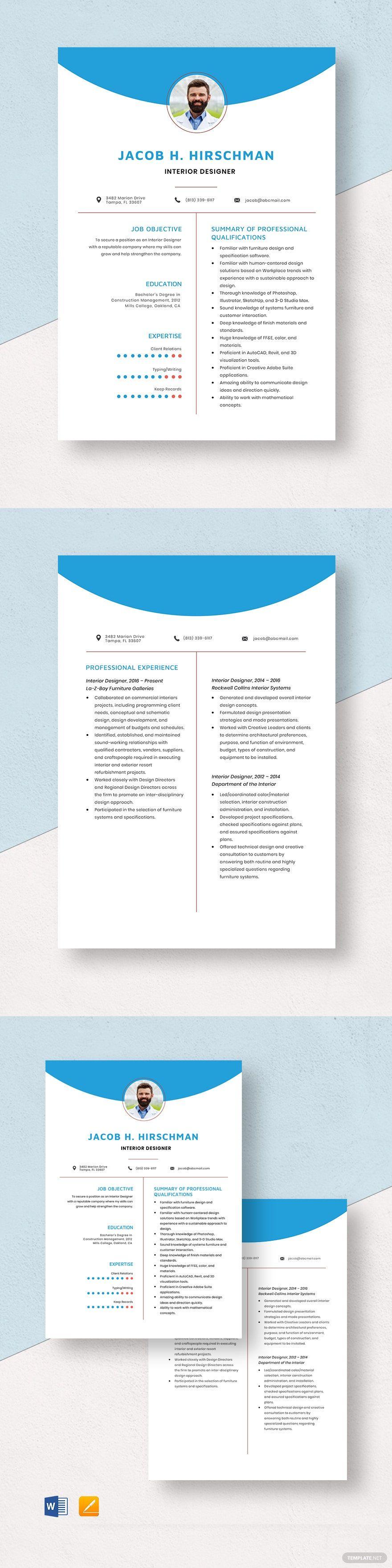 Interior designer resumecv template word apple pages