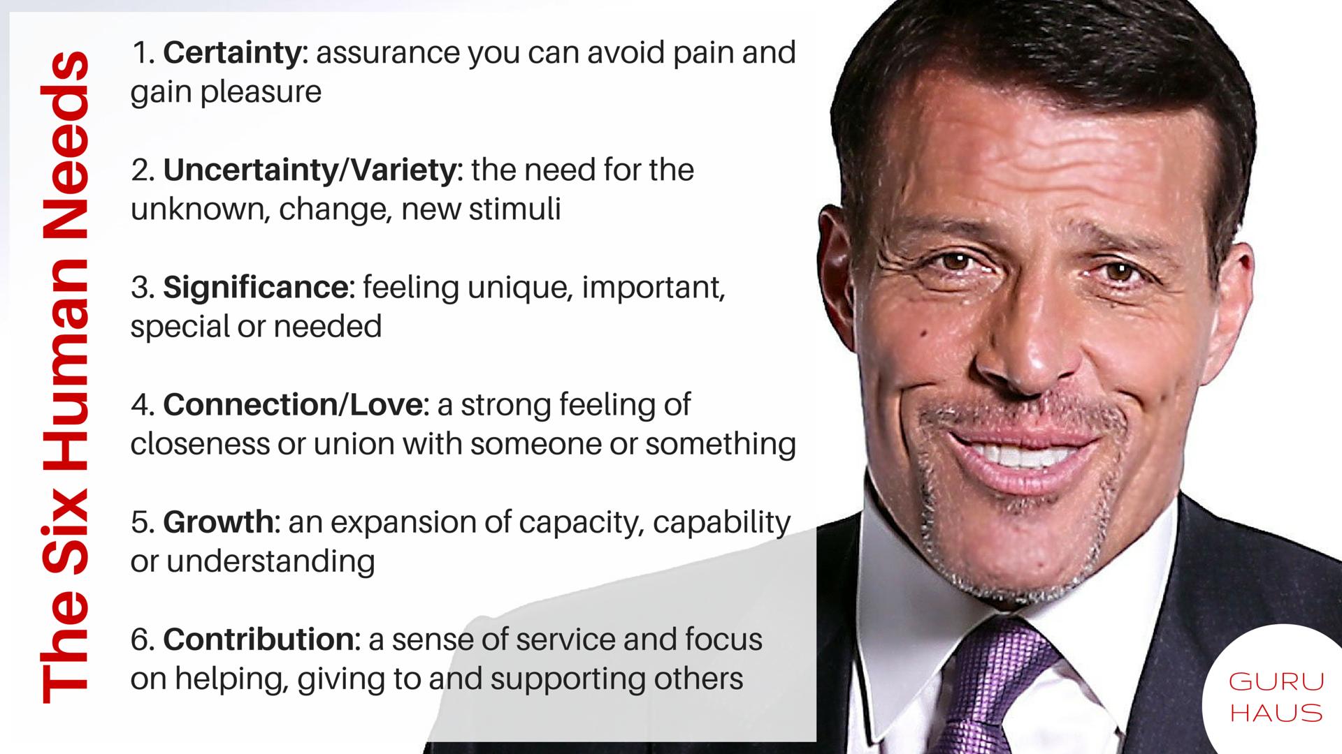 6 Human Needs According To Tony Robbins