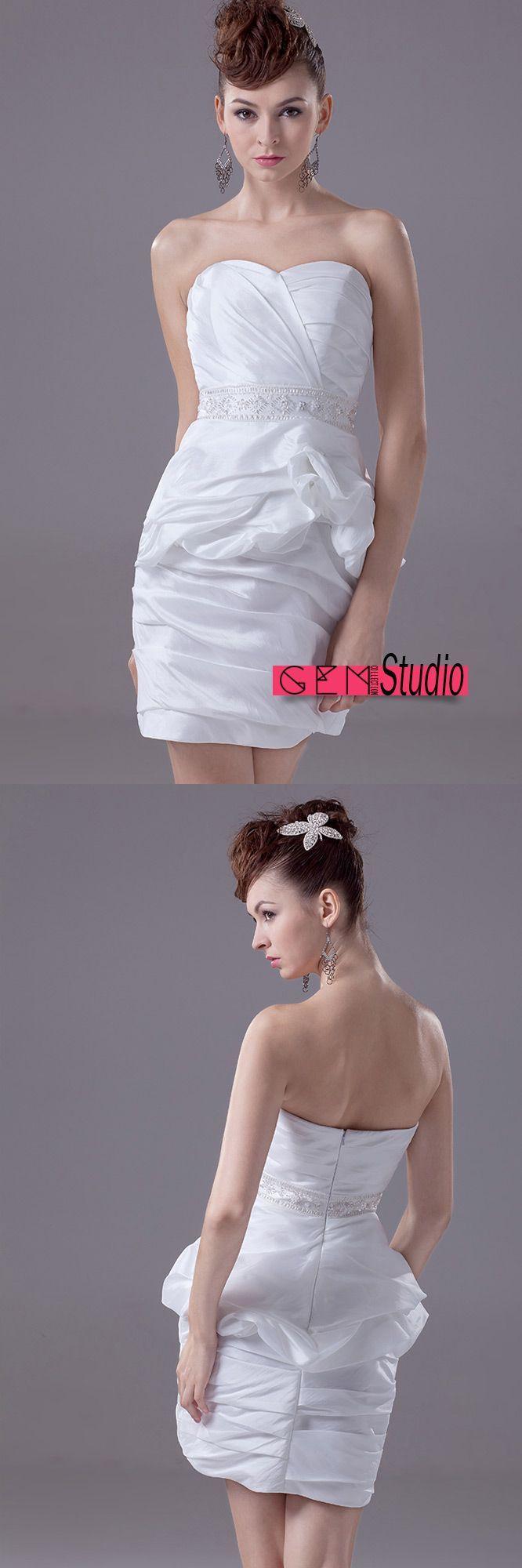 Chic short wedding dresses reception little plain white taffeta
