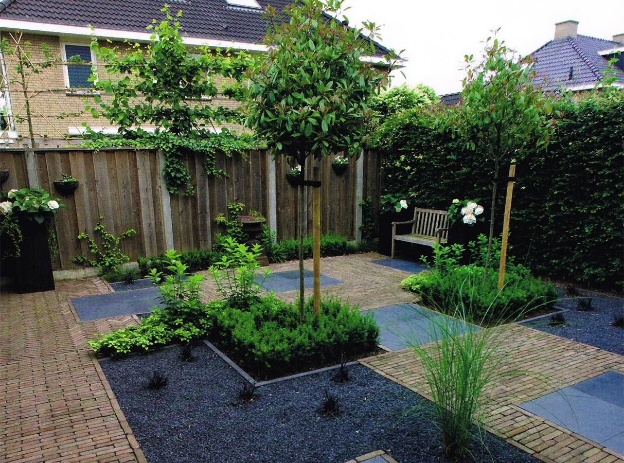 Beautiful Courtyard Decoration With Green Plants Garden And Wooden ...
