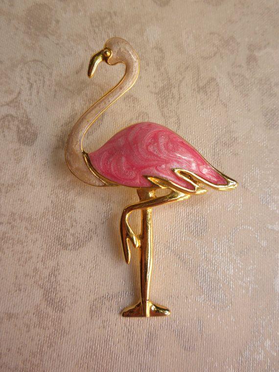 Vintage flamingo brooch.