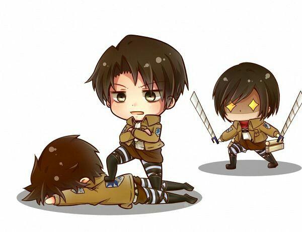 Eren, Levi, and Mikasa