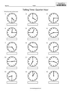 Telling Time to the nearest Quarter Hour clock worksheets ...