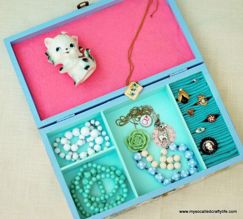 Diy Jewelry Box Part - 30: Sweet Vintage Wallpaper Covered DIY Jewelry Box | My So Called Crafty Life