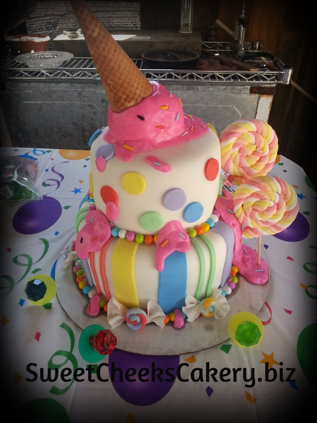 Candy Themed Birthday Cake Ice Cream Cone Girly Kids Birthday