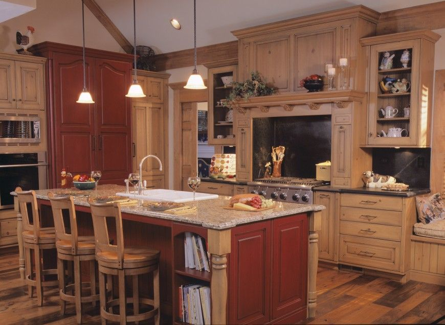 Dark Wood Country Kitchen rustic kitchen with red and tan wood color schemedrury design