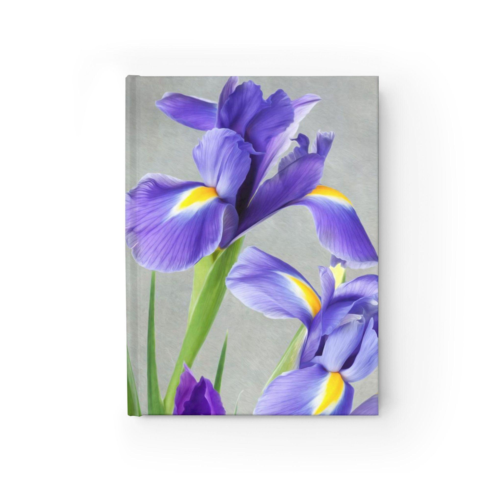 Purple Iris Flowers Hardcover Journal Original Artwork Writing Journal Personal Diary Small Sketchbook Flower Lovers Gift Ideas Purple Iris Flowers Iris Flowers Small Sketchbook