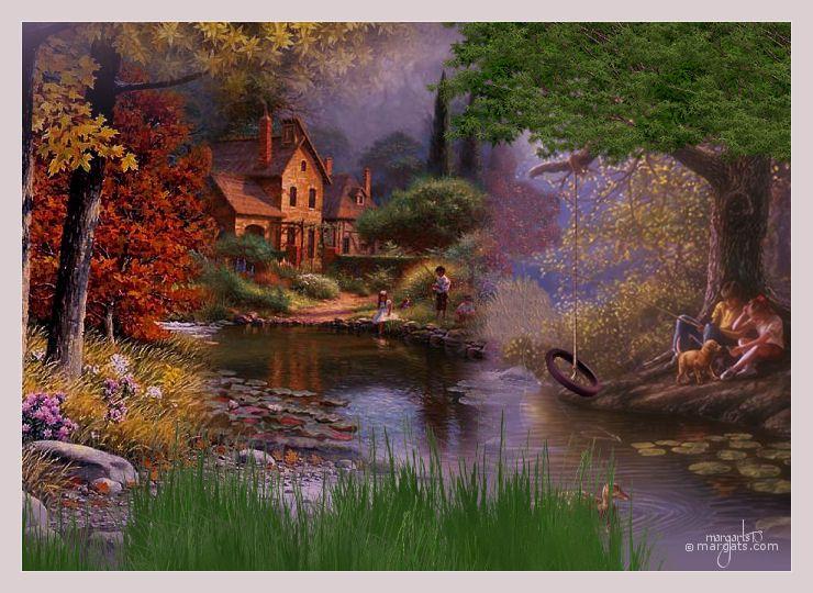 Un precioso paisaje que evoca los días felices de la infancia,los juegos con los amigos,las horas despreocupadas sin más nada que hacer que no hacer nada.