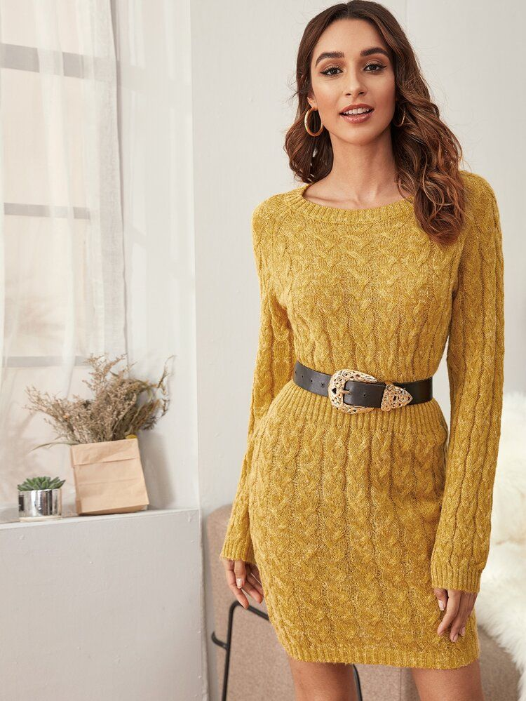 Cable knit sweater dress without belt shein usa