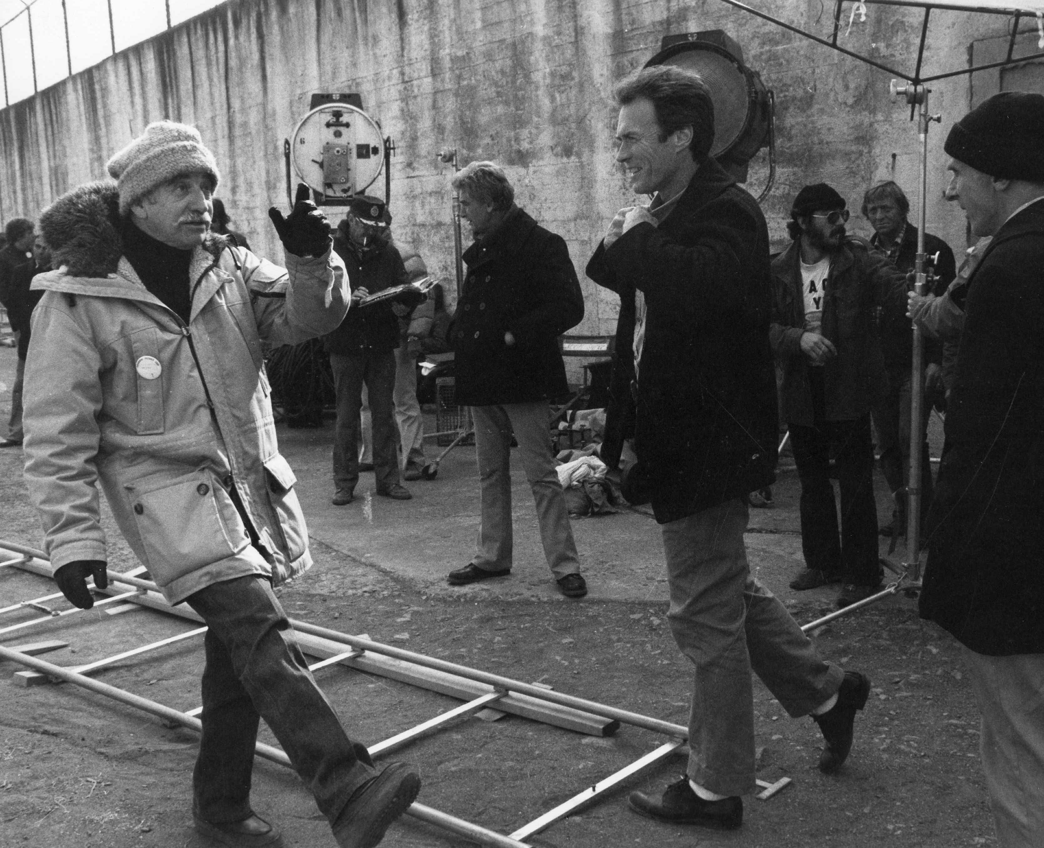 On The Set Of Escape From Alcatraz 1979 L To R Co Producer
