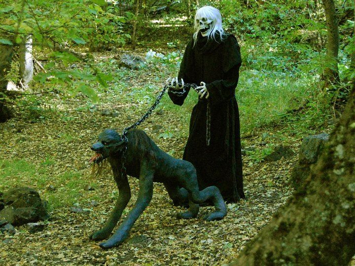 Because even the hounds of hell need to be walked Halloween - haunted forest ideas for halloween