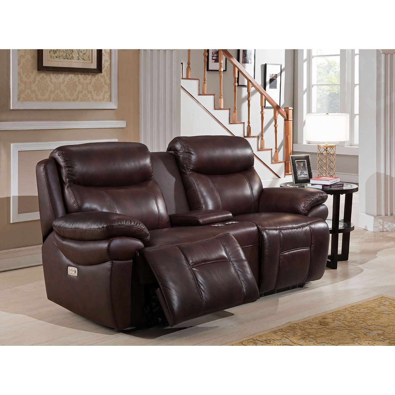 Fantastic Sanford Leather Power Loveseat Recliner With Power Headrests Pdpeps Interior Chair Design Pdpepsorg