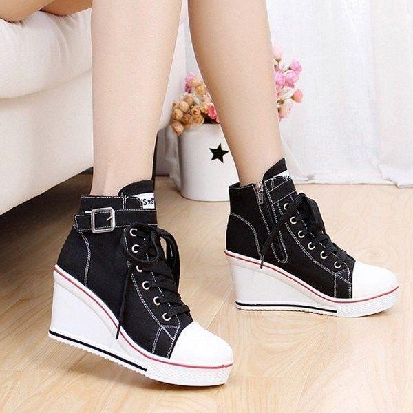Buckle Wedge Heel Casual Shoes