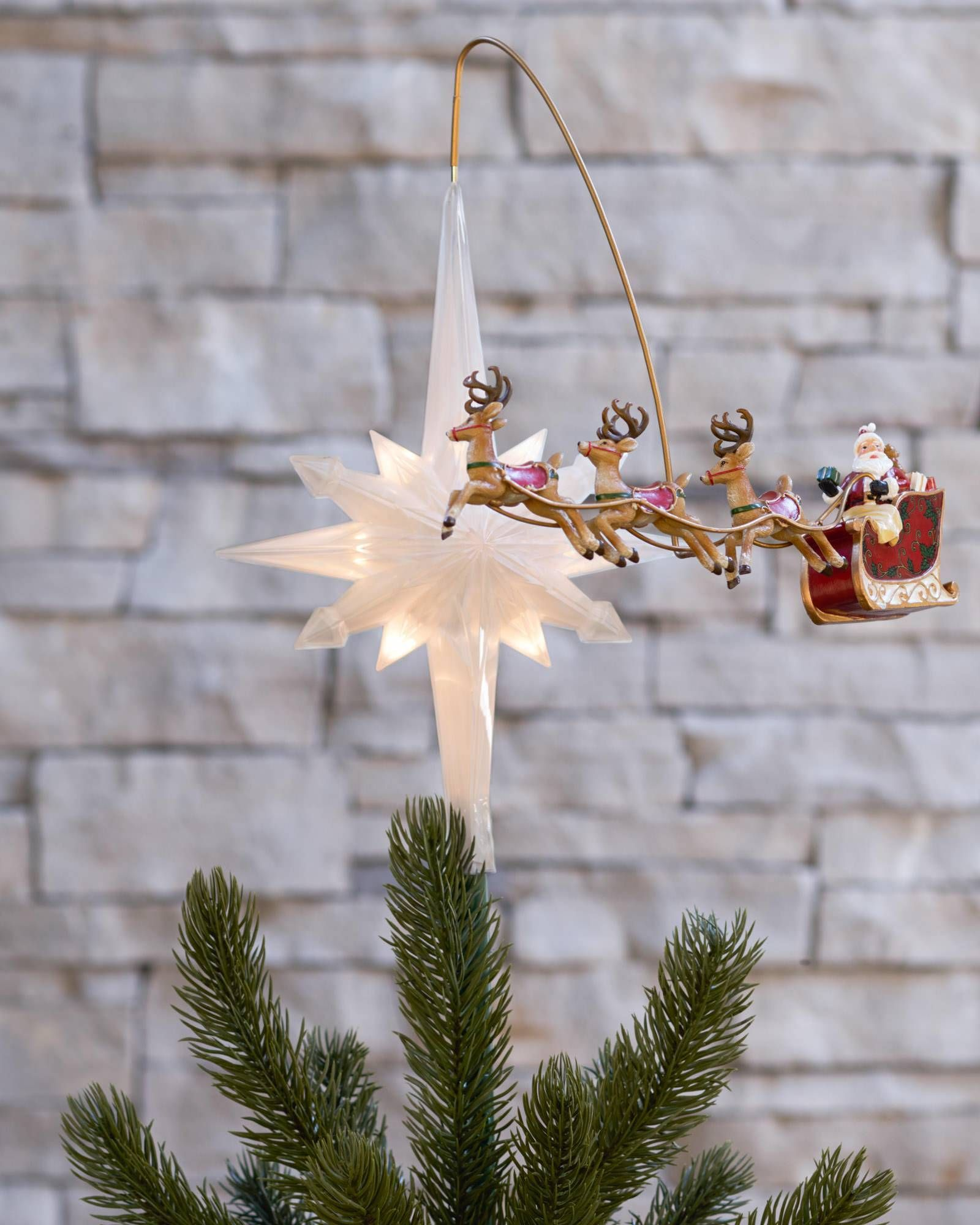 Santa S Sleigh Animated Tree Topper Balsam Hill Animated Christmas Decorations Fun Christmas Decorations Animated Christmas