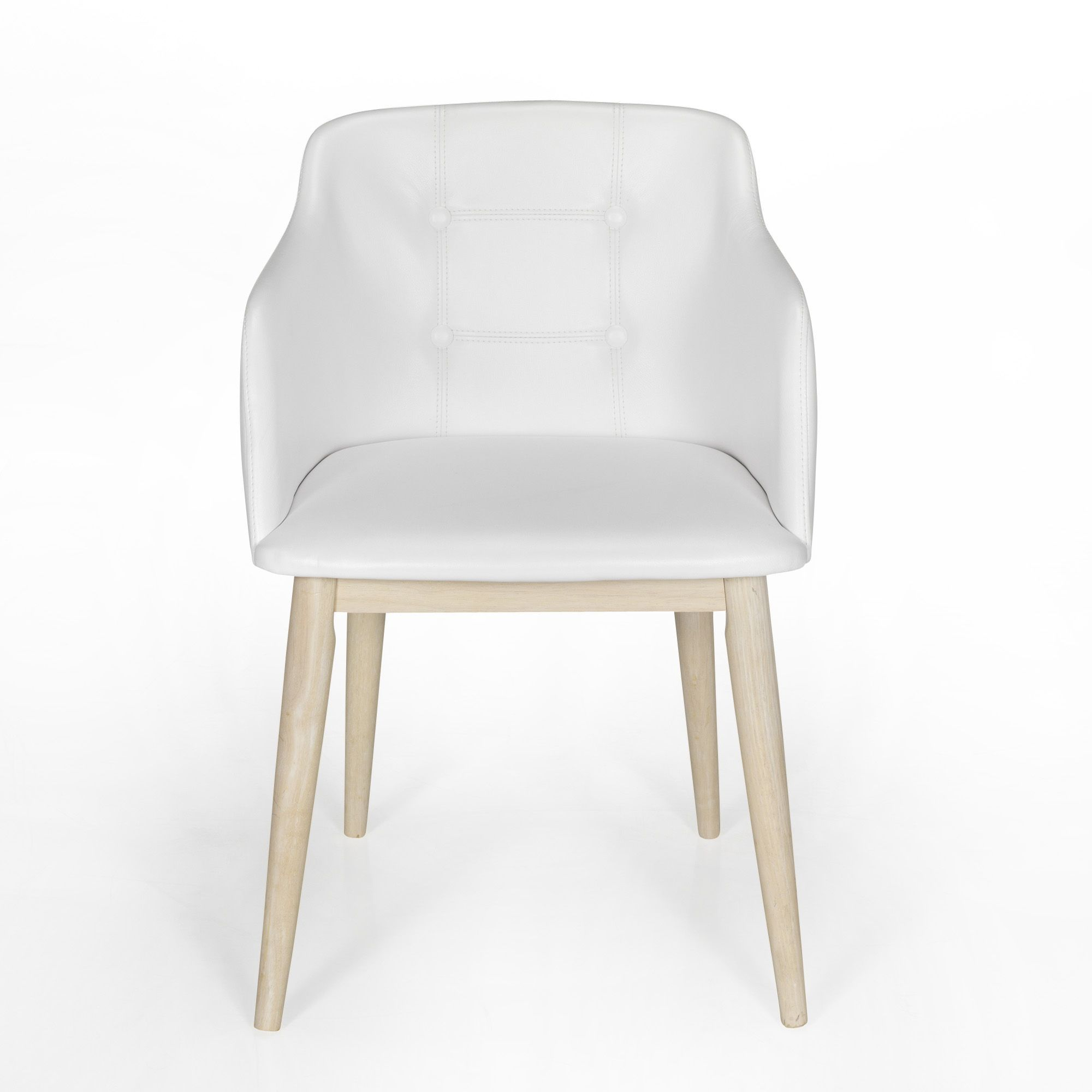 Chaise de s jour capitonn e blanche blanc cork chaises - Alinea chaise salle a manger ...