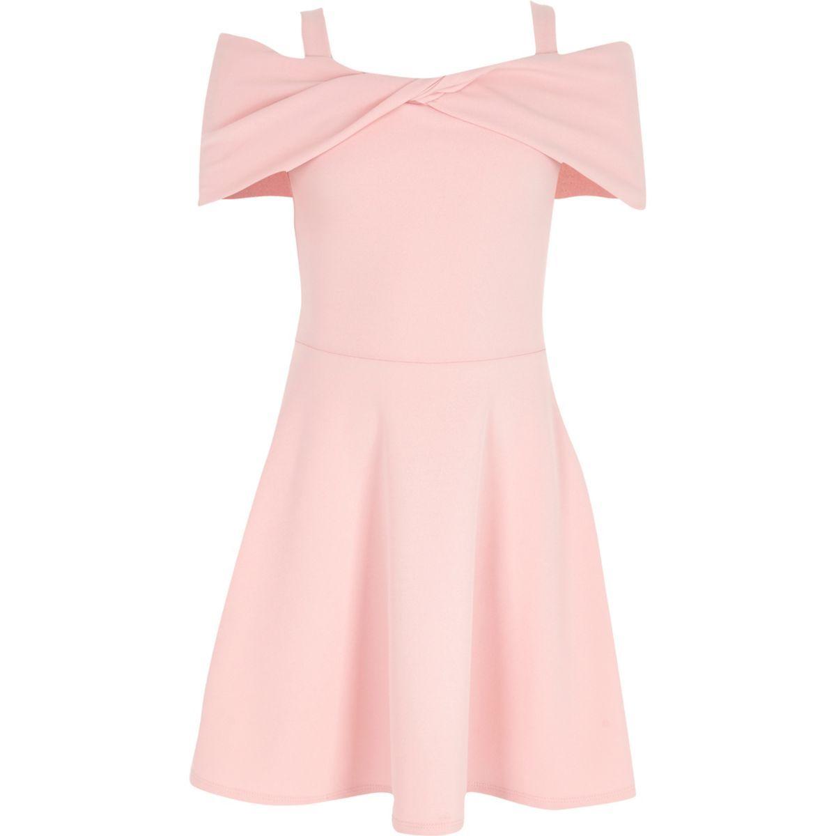Girls Pink Scuba Bow Bardot Skater Dress Party Dresses Dresses Girls Girls Graduation Dresses Dresses For Tweens Girls Formal Dresses [ 1200 x 1200 Pixel ]