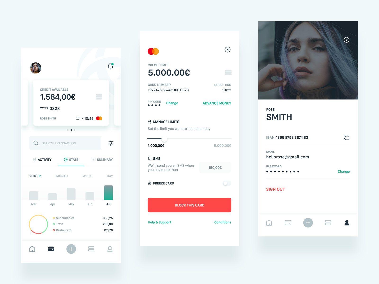 Triodos Bank App Concept Ii Stats Credit Cards Profile Banking Triodos Banking App Web App Design Finance App
