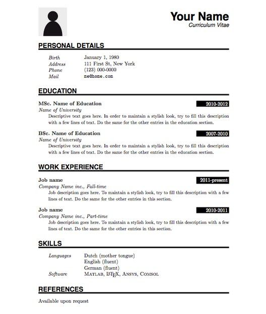 Pin on Latex Resume Template