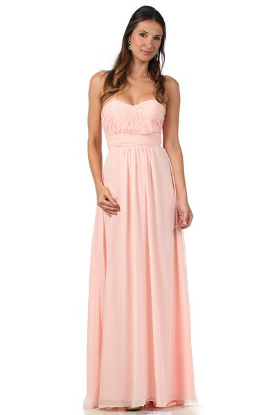 Strapless Chiffon Bridesmaids Dress in Light Coral | Bridesmaid ...