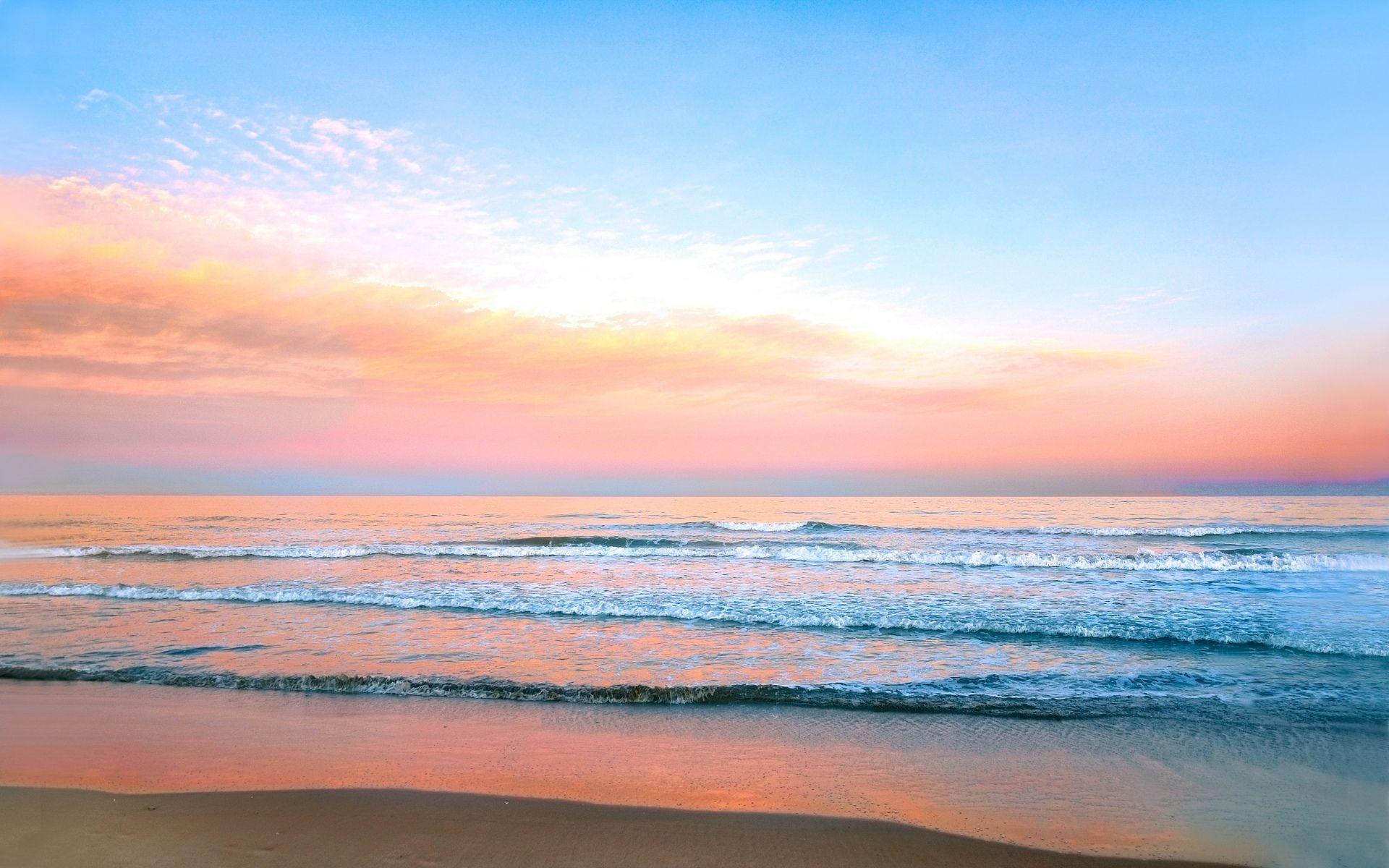 Scenery Wallpaper For Bedroom Earth Scenic Cloud Orange Pink Sea Beach Sky Nature Pastel Horizon