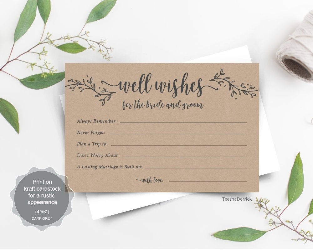 WSH02 Well Wishes Well Wishes Card Wedding Well Wishes Well Wishes Printable Birthday Well Wishes Advice Card Baby Well Wishes PDF