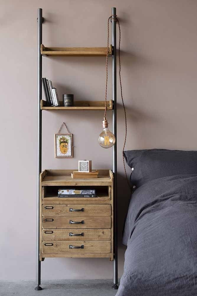 Photo of Industrial style ladder shelf with 2 drawers