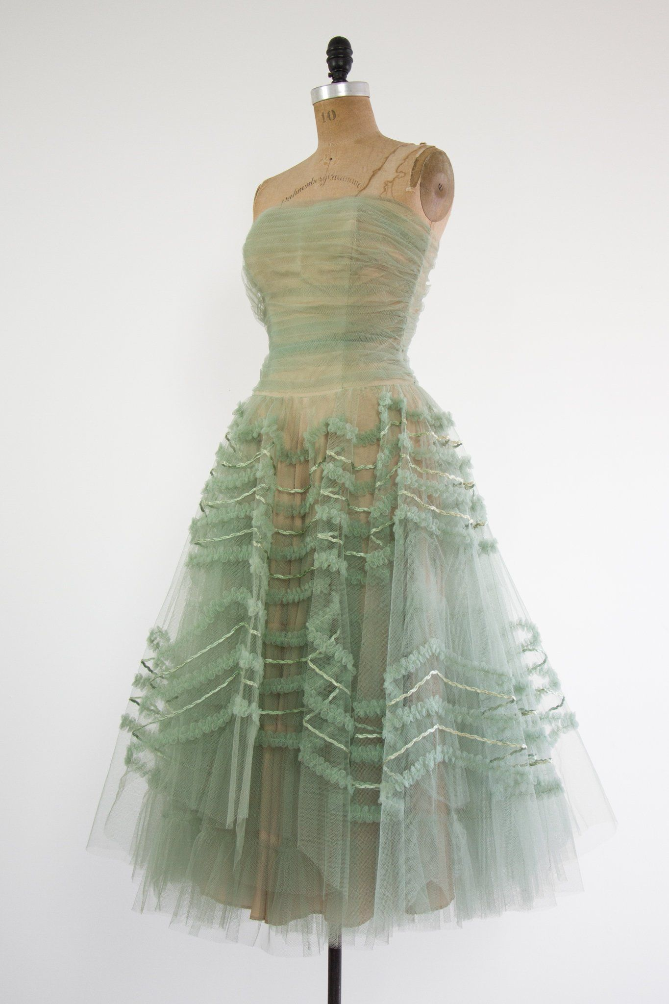 2e37a42781f vintage 1950s tulle dress 50s prom dress formal sage green