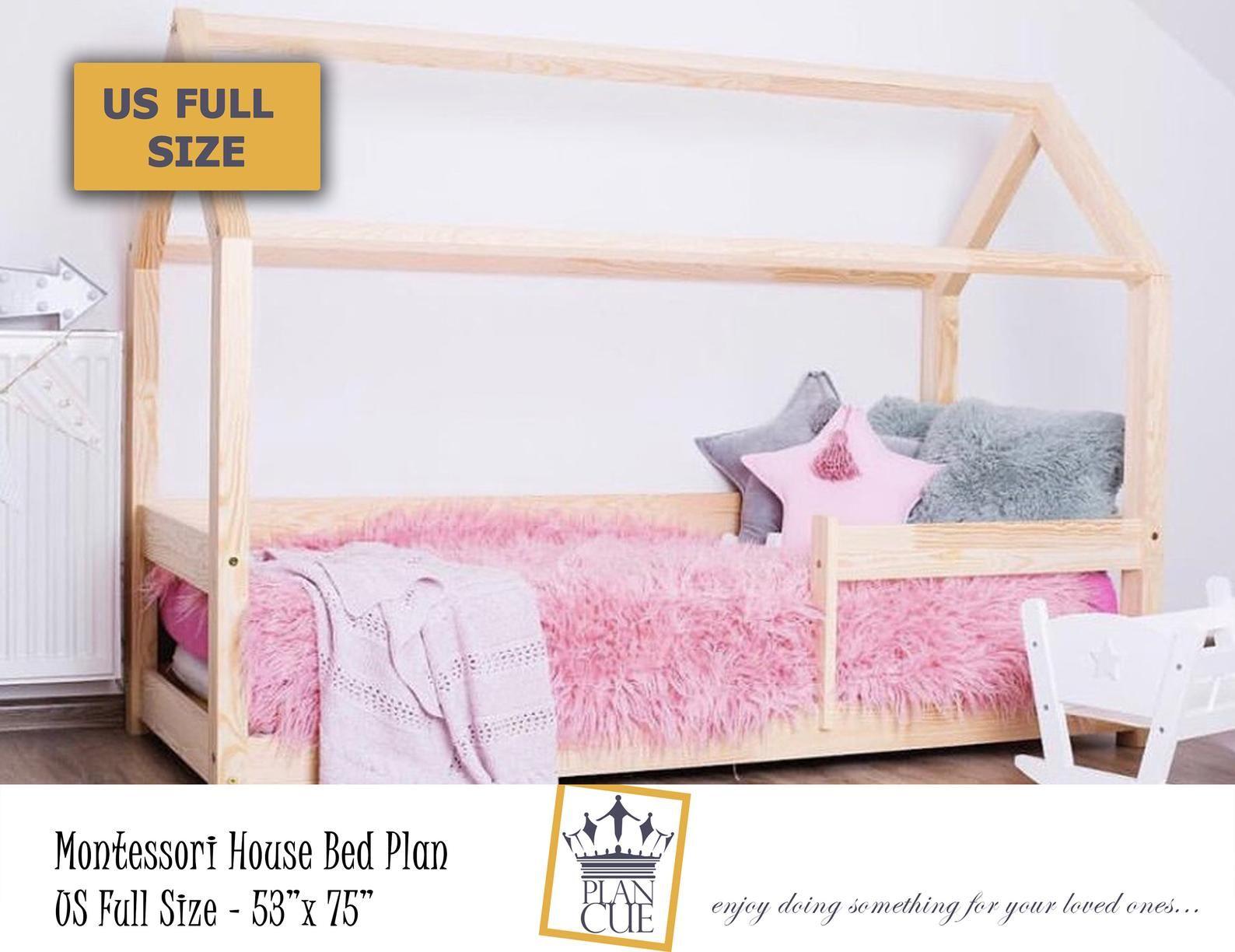 Montessori house bed plan Full size Toddler Bed wood bed   Etsy en 2020   Lit cabane, Lit maison ...