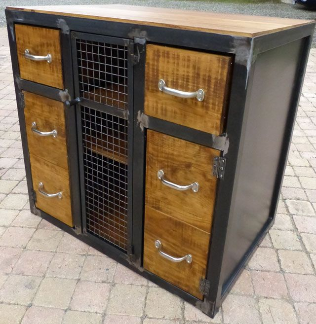 fabrication meuble bois m tal style industriel sur mesure m veis pinterest meuble bois. Black Bedroom Furniture Sets. Home Design Ideas