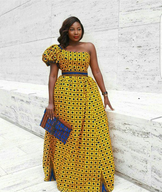8fb576e155e1 Yellow African Print Dress Off Shoulder Dress African Print Dress African  Clothing  African Dress Af