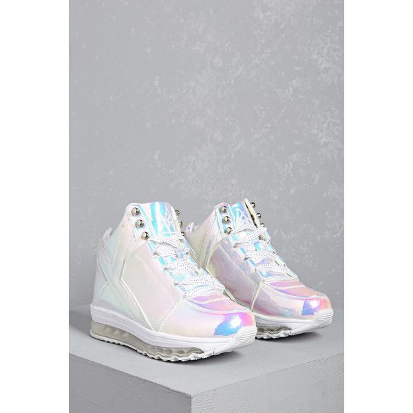 6d5c09d4caf68 Forever21 Y.R.U. Holographic Sneakers ( 125) ❤ liked on Polyvore featuring  shoes