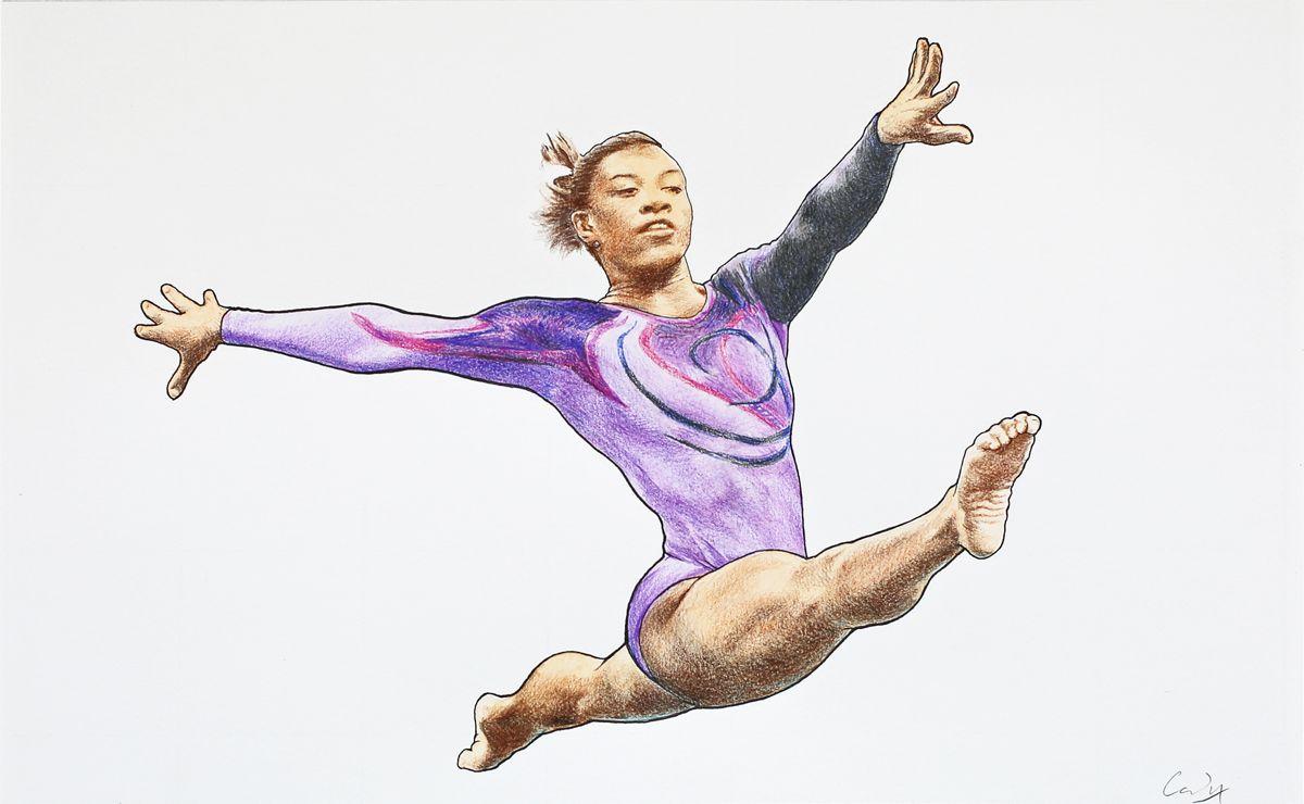 Mixed media drawing *Female Gymnast (Simone Biles