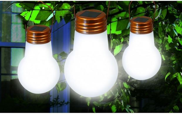 Classic Styled Light Bulbs Powered By LED's Which Are Rechargeable From Solar