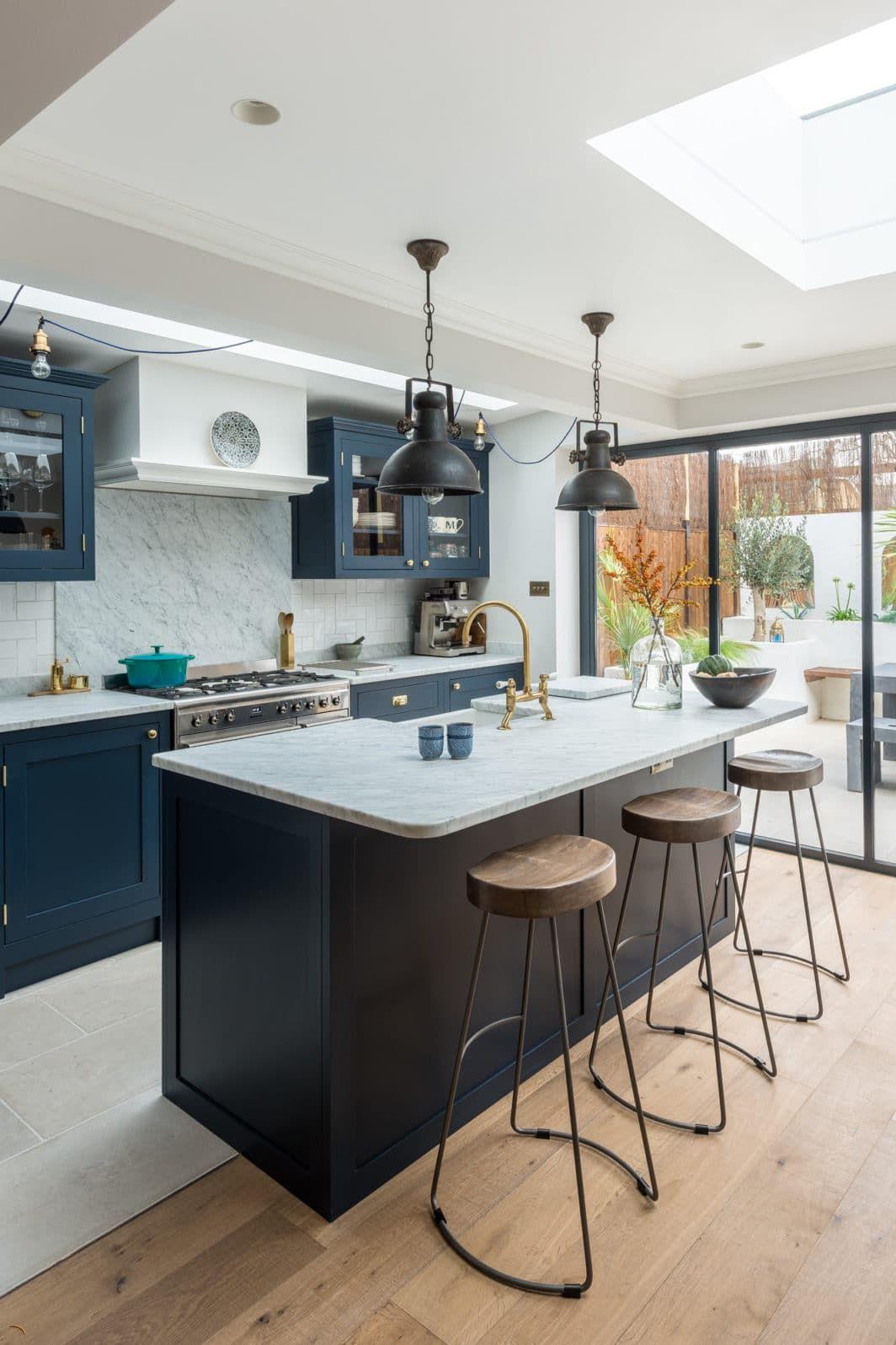 15 Gorgeous Dark Blue Kitchens Inspiration And Ideas Kitchinsider Blue Kitchen Inspiration Open Plan Kitchen Living Room Dark Blue Kitchens