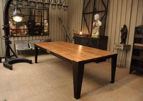 Grande table d\'usine industrielle en métal et bois   table   Pinterest