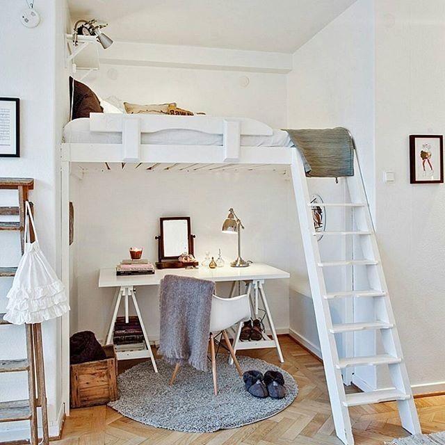 Para pequenos espaos uma cama area pode ser a soluo