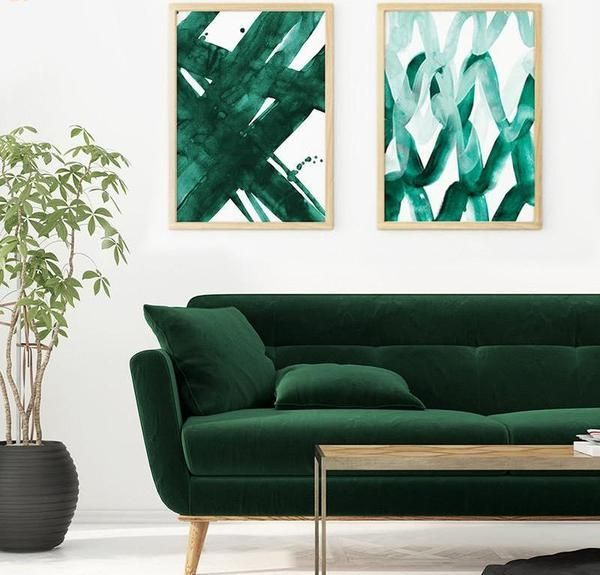 Abstract Emerald Green Watercolor Prints (Unframed) images