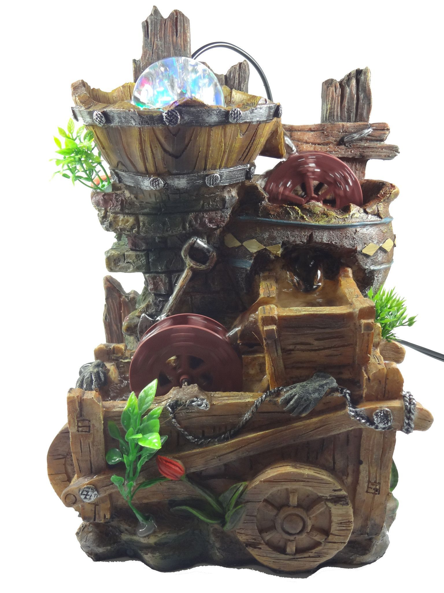 Tabletop fountain wooden fence water mill | Indoor Water Fountains ...