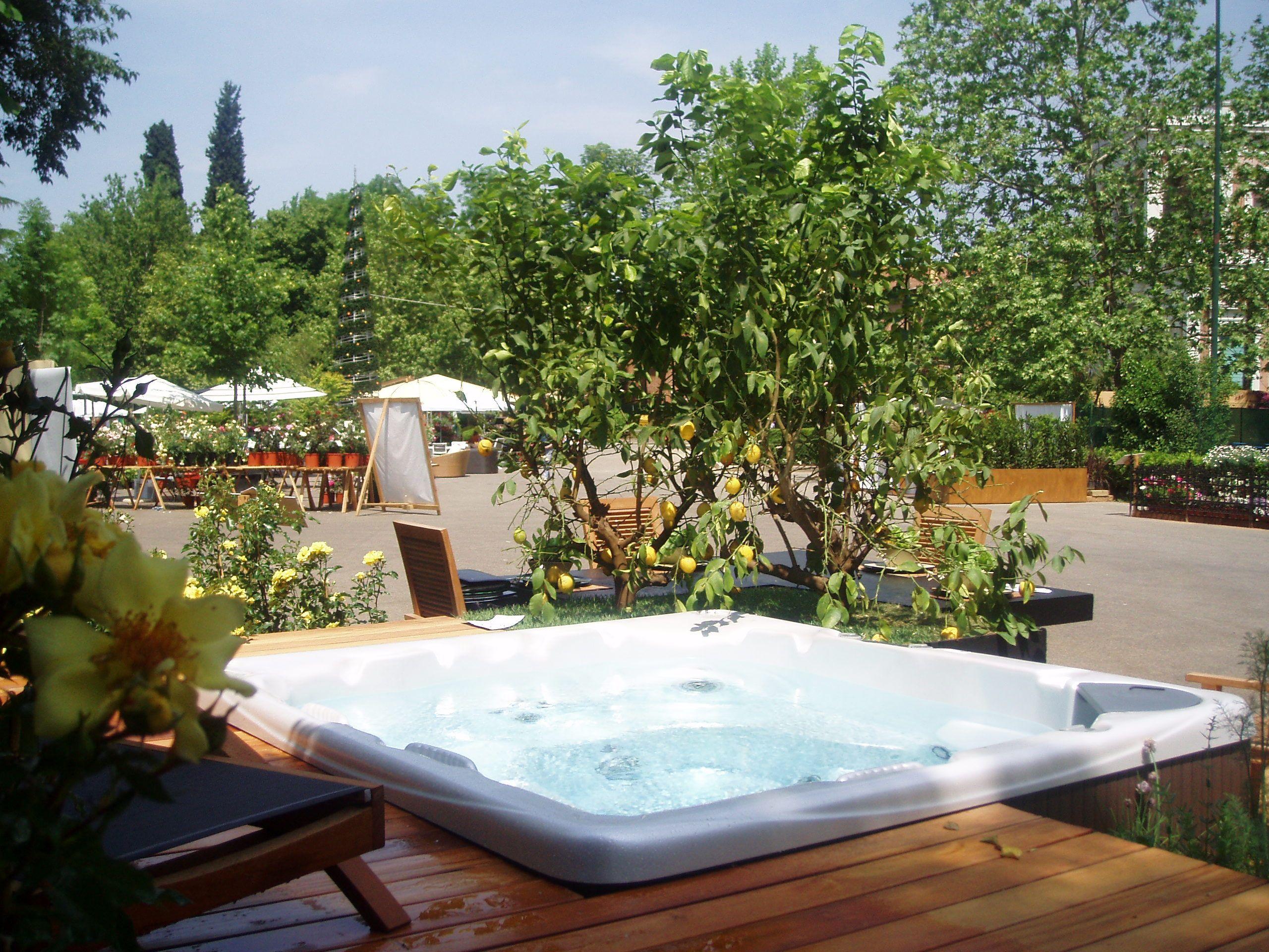 A Beachcomber Hot Tub Garden Oasis Decked Out Hot Tub Garden