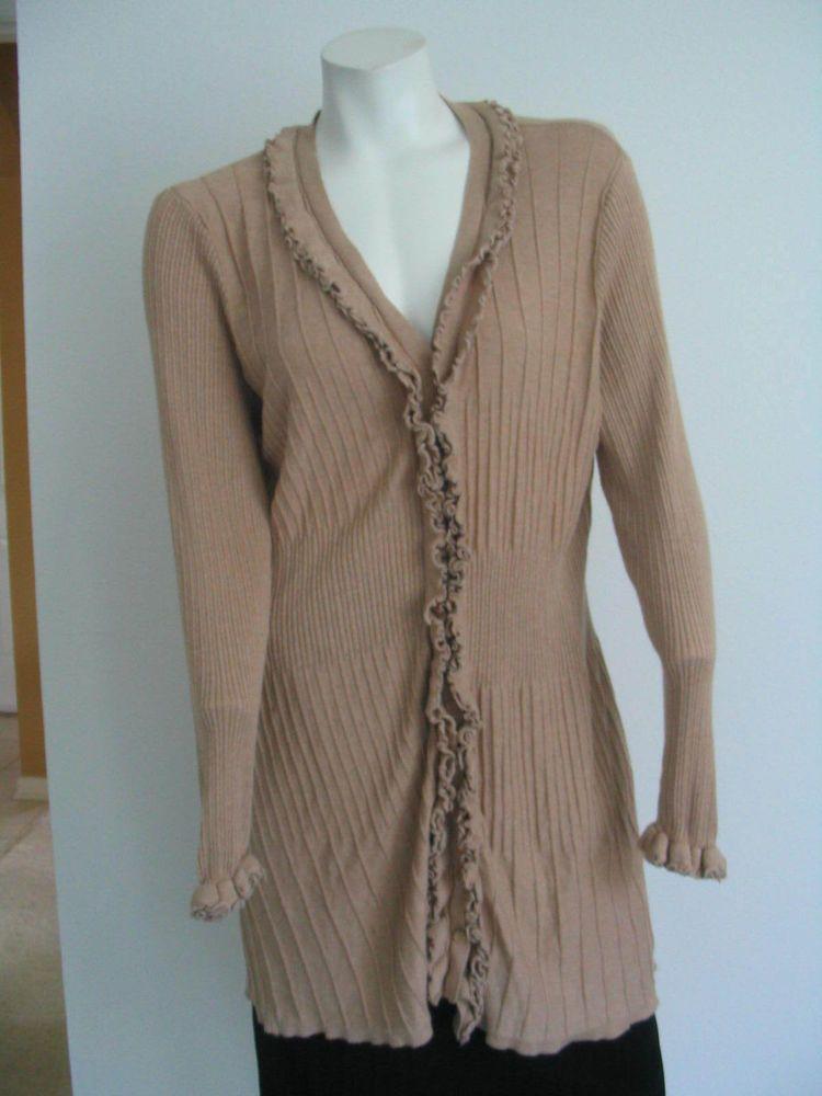 NYGARD COLLECTION Sz XL Long Sweater Jacket Ruffles Light Brown ...