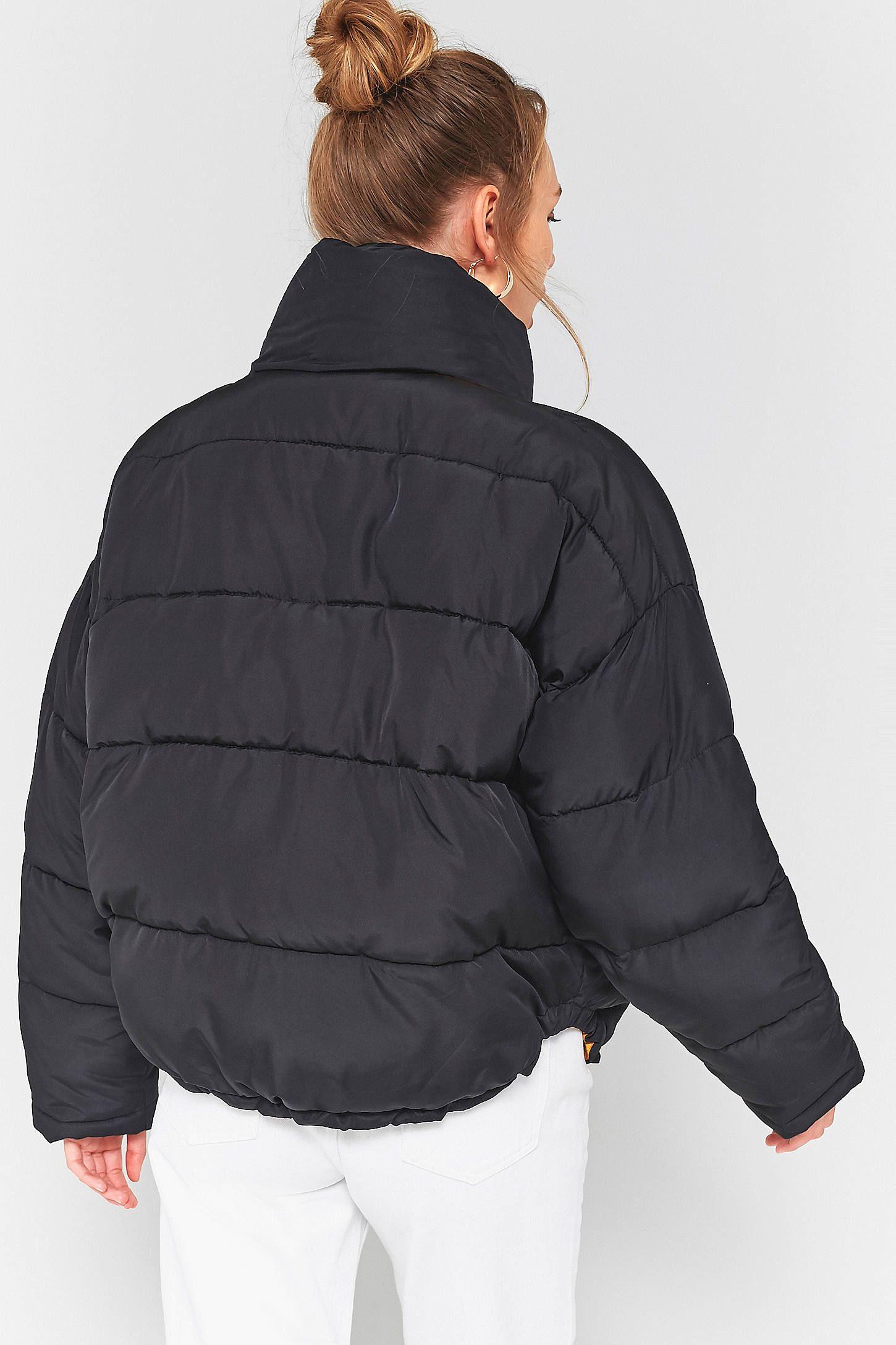 Light Before Dark Black Yellow Contrast Lining Pillow Puffer Jacket Jackets Puffer Jackets Black N Yellow [ 2175 x 1450 Pixel ]