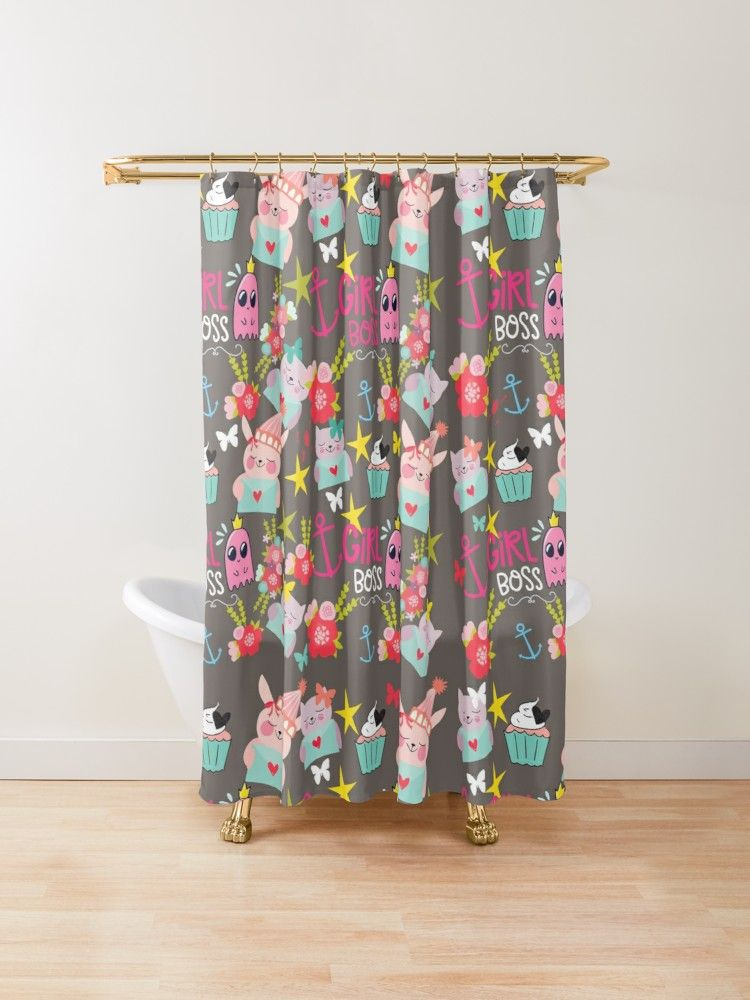 Girl Boss Shower Curtain By Nora Gad Designer Shower Curtains