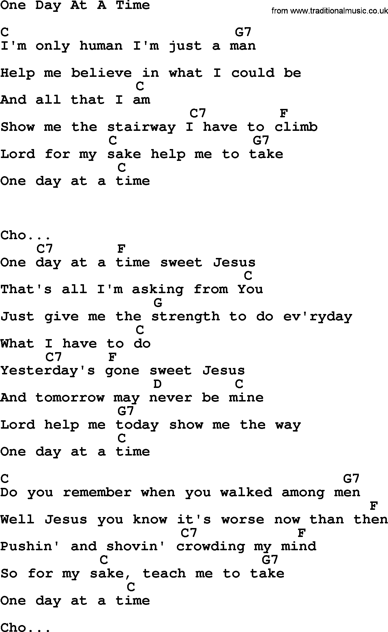 kris kristofferson song one day at a time lyrics and chords